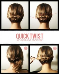 Peinados: Recogido Short hair chignon - The Beauty Department Five Minute Hairstyles, Twist Hairstyles, Pretty Hairstyles, Summer Hairstyles, Wedding Hairstyles, Woman Hairstyles, Simple Hairstyles, Hairstyles 2016, Nurse Hairstyles