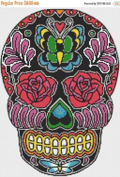 ON SALE Sugar Skull butterfly 128 x 180 stitches by borntocross