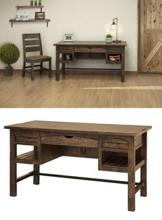 Bring a rustic charm into your home office with this solid wood desk. Three drawers and two shelves offer more than enough storage space. Plus, the center drawer has a drop front, making it the perfect keyboard drawer. Solid pine frames with multi-wood panels create a uniquely textured look that is complemented beautifully by its distressed finish and metal stretcher. The Mezcal Rustic Solid Wood Desk by International Furniture Direct at Great American Home Store. #shopgahs #desk #homeoffice