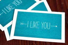 I Like You / Valentine's Day Letterpress Printed Postcard. $3.00, via Etsy.
