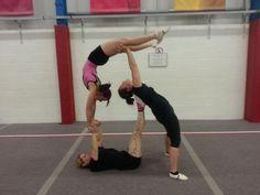 Trio acro gymnastics
