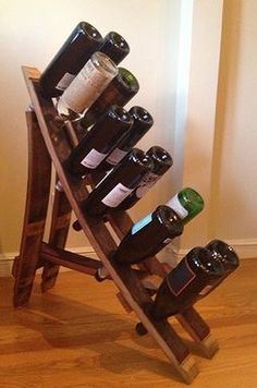 Custom Made French Oak Wine Barrel Wine Rack, Reclaimed Wooden Wine Rack