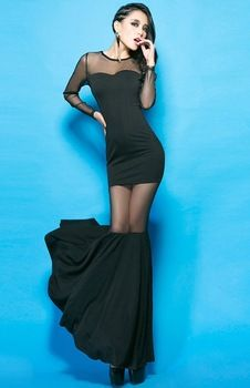 2015 Summer Princess Sexy Gauze Perspective Fish Tail One-piece Black Club  Mesh Dress Cheap 8d1d8389a806