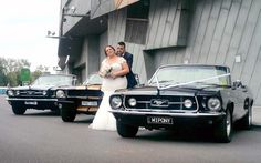 Mustangs in Black 1966 and 1967 GT Convertible Ford Mustangs including our Shelby GT350 outside Federation Square for a wedding shoot.