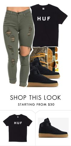 """Huf"" by swagger-on-point-747 ❤ liked on Polyvore featuring NIKE, women's clothing, women's fashion, women, female, woman, misses and juniors"