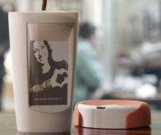 This mug uses hot liquid to show you photos and inspirational quotes.