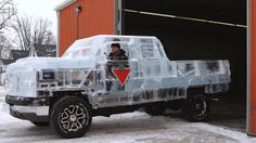 A working pickup truck made from ice. Now that's amazing!