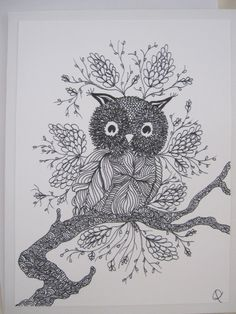 Zentangle Owl Note Cards  Set of Five by HominyHouse on Etsy, $14.95