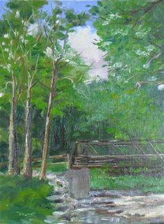 """Three Trees at the Bridge ~ 9x12~ oil on linen""$300 - Original Fine Art for Sale - © Vincenza Harrity"
