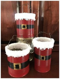 Crafts with cans: 61 great ideas for it! - sanat - Einfaches wohndekor - Crafts with cans: 61 great ideas for it! Christmas Ornament Crafts, Snowman Crafts, Christmas Wood, Christmas Projects, Simple Christmas, Kids Christmas, Christmas Crafts, Coffee Can Crafts, Tin Can Crafts
