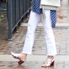 The Tunic Top, Nina Shoes, White denim, Gigi NY bag