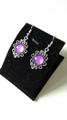 Boucles d'oreilles noeuds celtiques Claire Sassenach cabochons violets argenté Outlander Reign Ecosse