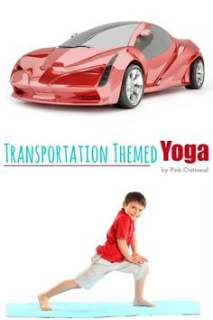 Yoga poses for kids with a transportation theme! Make kids yoga fun by incorporating a theme! Transportation is a perfect theme to incorporate into kids yoga poses! Gross Motor Activities, Sensory Activities, Activities For Kids, Preschool Ideas, Kids Yoga Poses, Yoga For Kids, Transportation Theme Preschool, Childrens Yoga, Pediatric Physical Therapy