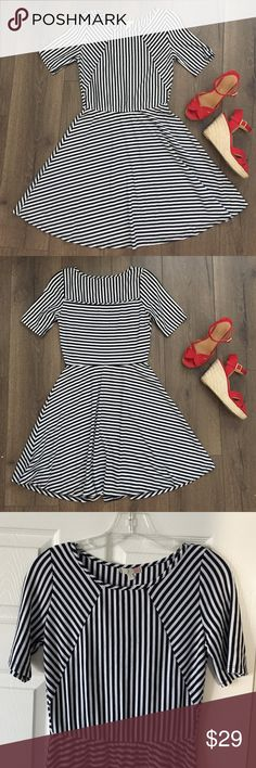 Nautical Rockabilly Blue White Striped Dress Never worn! Very flattering nautical style dress. Pair with red wedges & a red belt. So cute! Non smoking pet friendly home. Ships within a day! ❤️ www.shopcbella.com Dresses