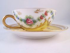 Limoges Demitasse Cup/Saucer Hand Decorated Floral Motif