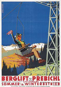 Steiermark Prebichl Lechner Hubert Vintage Ski Posters, Art Deco Posters, Vintage Ads, Theme Sport, Harry Potter Poster, Luggage Labels, All Poster, Brand Packaging, Ad Design