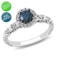 I've tagged a product on Zales: 1/2 CT. T.W. Enhanced Blue and White Diamond Frame Engagement Ring in 14K White Gold