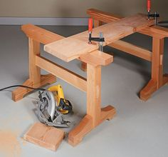 Traditional joinery and a heavy-duty trestle design add up to a sawhorse that's built to last. Woodworking Tool Cabinet, Woodworking Saws, Woodworking Workshop, Woodworking Projects, Furniture Making, Wood Furniture, Wooden Workshops, Masonry Work, Woodworking Inspiration
