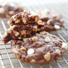 Perfectly chocolate cookies with soft gooey centers, studded with both peanut butter and white chocolate chips. Phenomenal!