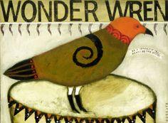 "Sheila Norgate, ""wonder wren"", acrylic on canvas"