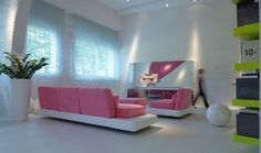 """Roohome.com- Miley Cyrus says that """"Pink isn\\\'t just a color it\\\'s an Attitude too!"""". Most people like pink color, especially woman. Pink is one of the bright and fancy color in the world. They believe that pink is always great in any other situation.Having a beautiful and soft living room ..."""