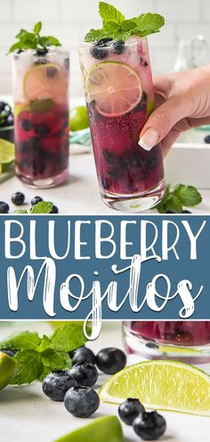 mint drink Nothing screams summer quite like a refreshing Blueberry Mojito! Sweet juicy blueberries, tangy lime, fresh mint, and a generous pour of white rum will cool you down with the ver Mojito Pitcher, Mojito Drink, Mint Mojito, Mojito Cocktail, Best Rum For Mojitos, Fruit Mojito Recipe, Best Rum Drinks, Coconut Mojito, Blueberry Drinks