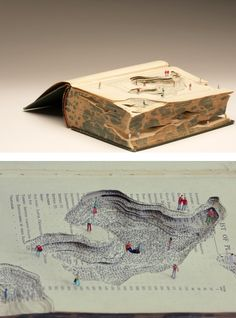 UK-based artist Kyle Kirkpatrick constructs these wonderfully tiny dioramas using the topographies of carved books.