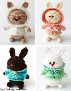 Amigurumi Bunny with Hoodie - free crochet patterns