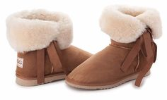 Betty Bow Chestnut Boots, Australian Made Sheepskin #aussie #australianmade #sheepskin #boots #comfy #shoesaholic #shortboots #bow #lace #cute #mood #chestnutboots #chestnut #brown #natural #styling #fashion #outfit #fashioninspiration