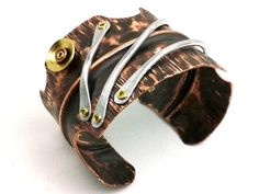 Men's Copper Bracelet Steampunk Wide Fold Formed Cuff Aluminum Wire - Mixed Metal Cold Connection Rivet Forged Fantasy Antique Rustic