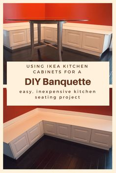DIY Banquette from Ikea Cabinets & Kitchen Seating & Kitchen Renovation Source by staleyck The post Building Seating Supports for DIY Banquette & Super NoVA Adventures appeared first on May Design School. Kitchen Nook Bench, Ikea Kitchen Cabinets, Diy Kitchen, Kitchen Design, Kitchen Ideas, Ikea Corner Kitchen Cabinet, Kitchen Bench With Storage, Kitchen Booths, 10x10 Kitchen