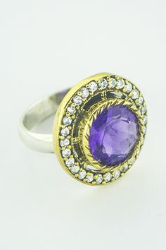 Amethyst and Cubic Zirconias in 925 Silver Ring In Stock. 925 Silver, Sterling Silver Rings, Amethyst, Sapphire, Gemstone Rings, Gemstones, Jewelry, Month Gemstones, Sterling Silver Band Rings
