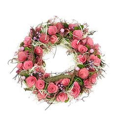 "12.5"" Pink Flowers and Berries, Green Leaves and Twig Artificial Spring Floral Wreath"