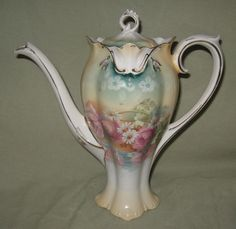 RS Prussia Reflecting Poppies Daisies Coffee Pot