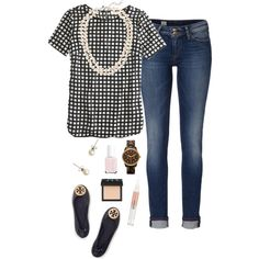 A fashion look from February 2015 featuring graphic t shirts, denim jeans and tory burch shoes. Browse and shop related looks. Mode Outfits, Jean Outfits, Outfits For Teens, Chic Outfits, Fashion Outfits, Womens Fashion, Fashion Ideas, Fashion Tips, Preppy Mode