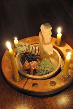 advent bowl and candle wreath - we have this wooden ring for birthdays - can just use for advent too