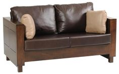 Amish Urban Loveseat with Wood Frame A fresh, modern look for the living room or family room. Amish made wood furniture with luxurious features, fine craftsmanship and durable solid wood. Choose wood, stain and upholstery. #loveseat #Livingroom
