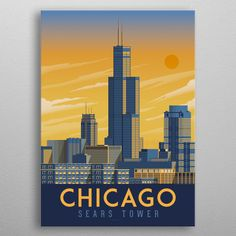 Chicago Travel Poster detailed, premium quality, magnet mounted prints on metal designed by talented artists. Expo Chicago, Chicago Poster, Chicago Art, Chicago Travel, Chicago Skyline, Homecoming Decorations, Train Vector, Chicago Tattoo, Hubby Birthday