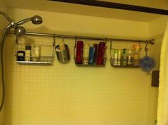 shower curtain rod used to hang caddies full of toiletries. shower curtain rod used to hang caddies full of toiletries. Bathroom Organization, Bathroom Storage, Organization Hacks, Shower Organizing, Bathroom Hacks, Storage Hacks, Storage Ideas, Organizing Tips, Bathroom Ideas