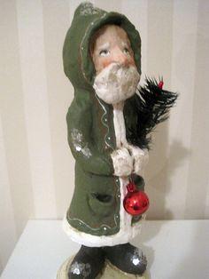 Santa Claus papier mache figurine folk art by Joannabolton on Etsy, $95.00