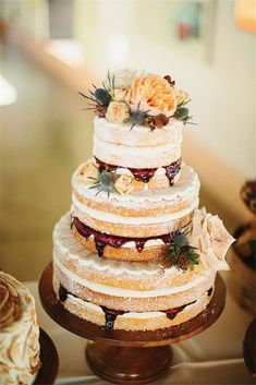 Naked Wedding Cake with Jam Filling. A rustic naked wedding cake by Cakewalk Bake Shop with a dusting of powdered sugar and dripping with jam filling. Naked Wedding Cake, Wedding Cake Flavors, Fall Wedding Cakes, Wedding Cake Rustic, Rustic Weddings, Indian Weddings, Gold Wedding, Purple Wedding, Fall Wedding Desserts