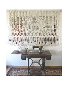 Macrame wall hanging/bed header/room divider with thick
