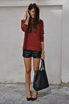 black and burgundy. could easily be transitioned into spring by switching the dark sweater with something brighter. cute either way