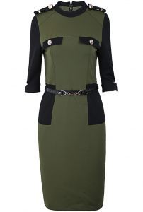 Army Green Stand Collar Epaulet Belt Bodycon Dress