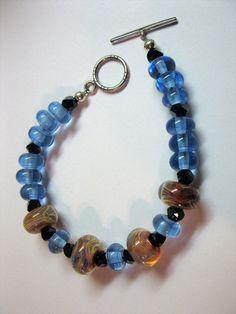 Bracelet Handmade Lampwork Beads Sterling Silver Clasp by las81101 on Etsy