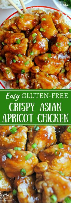 This gluten-free Apricot Chicken recipe combines the sweetness of the apricot preserves with the saltiness of soy sauce and the complexity of the sweet but slightly spicy ginger. The chicken pieces are fried to perfect crispiness with using a perfect flour blend to make the lightest crunchy coating. Guten-free and dairy-free.