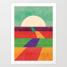 simple colorful retro vintage prints with geometric shapes. The path leads to forever Art Print by Budi Satria Kwan - $19.97