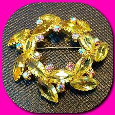 Vintage Yellow Rhinestone Wreath Brooch Pin With Aurora Borealis Rhinestones