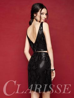 Sequin cocktail dress 3317 from Clarisse! Short fitted two piece dress with sparkly snake skin print. COLOR: Black SIZE: 0-14  Find yours today at your local Clarisse retailer by searching with your zip code at the link below!  http://clarisse.com/locator/index.php
