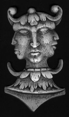 This 15th c carving from Cornwall is a prevalent Celtic image going back to pre-Christian Celtic Europe. Several tri-cephalic images have survived in Cornwall and the surrounding area but are rare in Britain. As Celts mixed with Romans, the triple head was asso, with Mercury,  god of prosperity. Many Celtic gods and goddesses existed as a triad.The head itself was greatly revered by the Celts as the seat of the life force and in mythology the severed head had powers of prophesy.